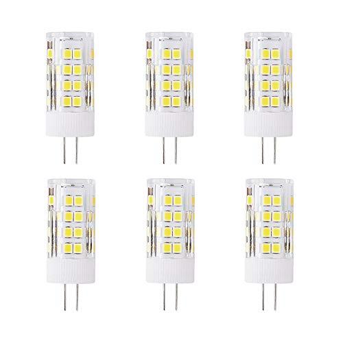 G4 5W LED Leuchtmittel, Ersatz 50 Watt, 51 LEDs, 500 Lumen, 360 Grad Abstrahlwinkel, AC/DC 12 V, Nicht Dimmbar, 6 Stück, 6000K Kaltweiss