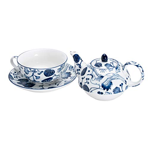 TOKYO design studio Flora Japonica Tea For One Set, Includes Premium Porcelain Teapot, Cup and Saucer, Decorative Gift Box, Microwave and Dishwasher Safe, Blue and White