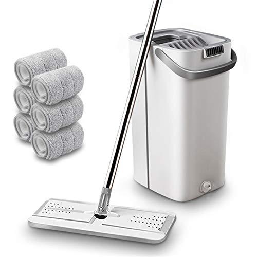 2020 Último ajuste de la fregona Lavar a mano Limpieza plana Limpieza plana Limpieza de herramientas perezosas Limpiador de piso Mopero de microfibra con cubo Casa Limpiador ( Color : White 6 cloth )