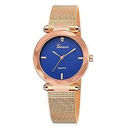 SheShiLs Geneva Classic Luxury Women Stainless Steel Analog Quartz Analog Wrist Watch Luxury Male Clock Gifts Dark Blue