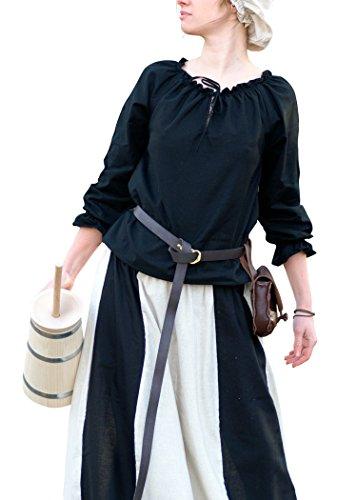 Battle-Merchant Mittelalterliche Bluse mit Spitze, schwarz aus weicher Baumwolle - LARP - Mittelalter - Wikinger Größe XXL
