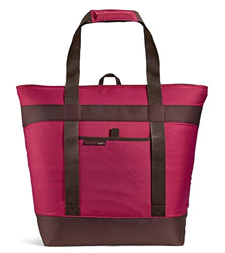 Rachael Ray H Jumbo ChillOut Thermal Tote Bag for Grocery Shopping, Transport Cold or Hot Food, Extra-Large Capacity, Insulated, Reusable, Burgundy, 22.5' X 8' X 17.5'