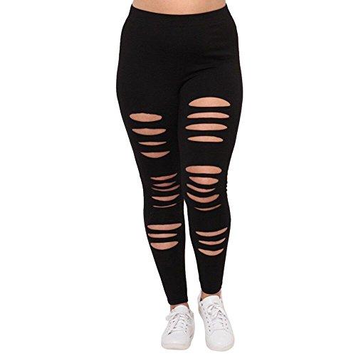 Mallorma Mode Plus Größe Frauen Sexy Leggings Hosen Yoga Sport Loch Freizeithosen Große Damen Ladies Yoga-Hosen (XXL, schwarz)