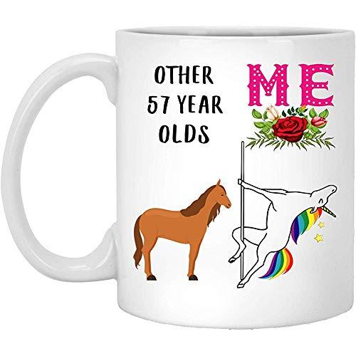 57.o Regalos de cumpleaños para mujeres nacidas en 1960 Cumple 57 años Regalo para ella Divertido baile de barra Sueño Caballo Baile Taza de café Taza blanca 11 oz