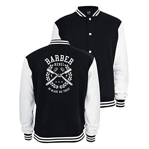 Gänseblümchendruck Barber Sweat College Jacke Barber Rebel Friseur Bart Rasiermesser L schwarz