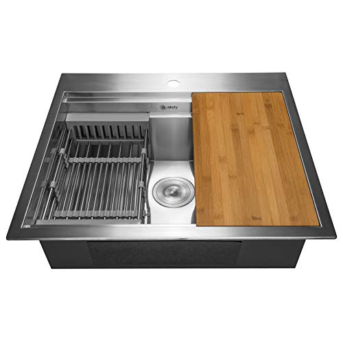 "AKDY 25-Zoll (25""X22 X9) Drop-In Topmount Küche Macht die Serie Deluxe Single Bowl Handgemachte Kitchen Sink mit integrierten verstellbaren Ablaufsieb und Schneidebrett - BAU"