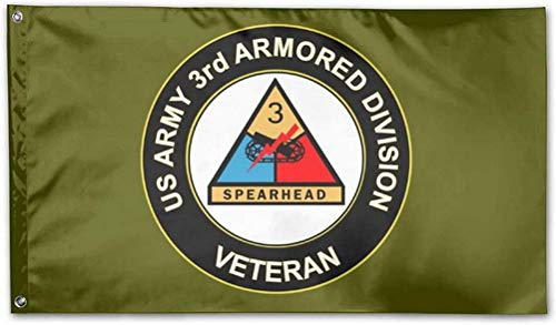 YIBENWANLI US Army Veteran 3rd Armored Division Flag Navy Green Flag Garden Flags Themed Welcome Party Seasonal Flag for Outdoors, Waterproof Decoration Durable Yard Decor 4X6 ft