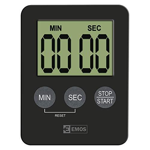 EMOS E0202 Digitaler Küchentimer/Kurzzeitmesser/Eieruhr/Kitchen Timer mit Alarm und Magnet, schwarz
