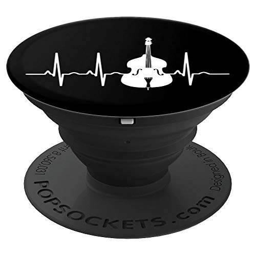 Cool Vintage Double Bass Pulse Heartline Upright Bass Gift PopSockets Grip and Stand for Phones and Tablets