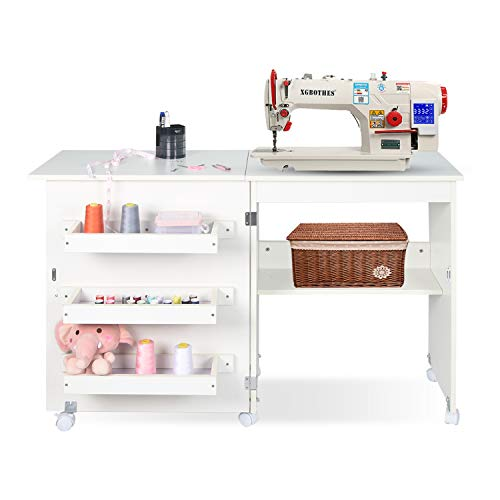 Folding Sewing Craft Cabinet Table Multifunctional Sewing Machine Cart Table with Storage Shelves and Bins Portable Rolling Sewing Desk Computer Desk with Lockable Caster in White Finish (White)