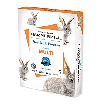 Hammermill Printer Paper Fore Multipurpose 24 lb Copy Paper 8.5 x 11 - 1 Ream  500 Sheets  - 96 Bright Made in the USA 103283
