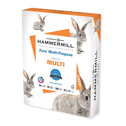 Hammermill Printer Paper, Fore Multipurpose 24 lb Copy Paper, 8.5 x 11 - 1 Ream (500 Sheets) - 96 Bright, Made in the USA, 103283