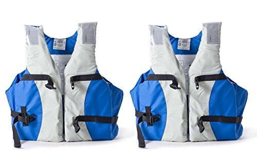wellenshop Schwimmweste Set 2X Royal Blau Auftrieb 50 N ab 40kg Brustumfang 80-110 cm ISO 12402-5 mit Schnellverschlussschnallen Reflektorstreifen