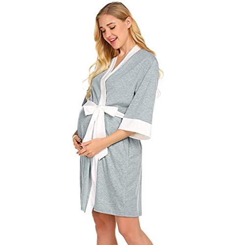 HEETEY Umstandsmode Umstandskrankenpflege Nachthemd-Krankenhaus-Stillkleid Umstandsmode-Robe Kleid für die Geburt von Roben im Krankenhaus