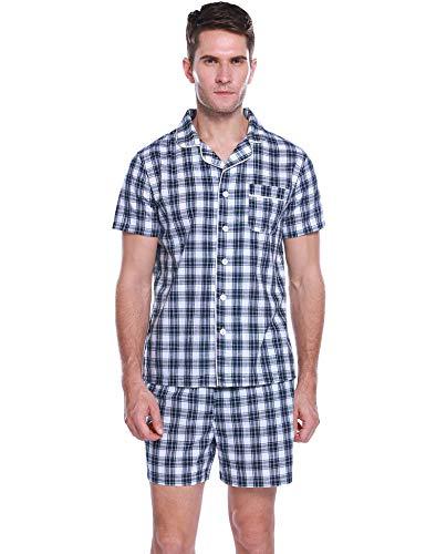 Hawiton Herren Schlafanzug Kurz Sommer Kariert Nachtwäsche Pyjama Shorts Schlafoberteil mit Kragen Knöpfeleiste Blau XXL