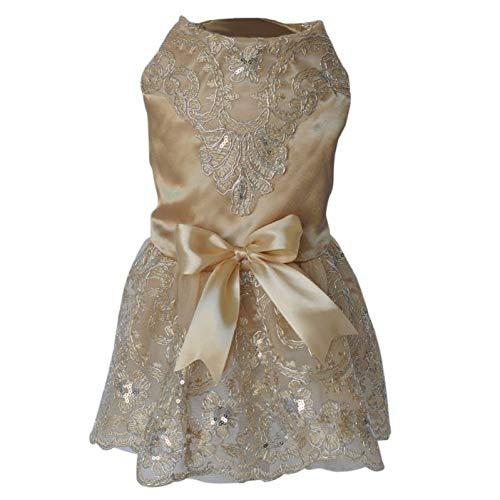 Pailletten kant geborduurde honden jurk prinses bruidsjurken voor honden Pet Tutu Rok Levert Xs Sml Xl Champagne S