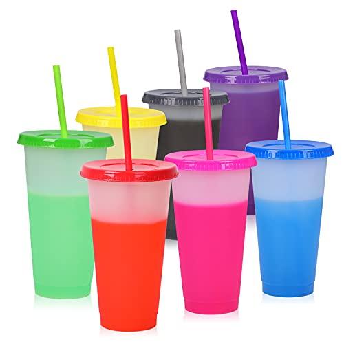 Vasos de plástico con tapa y pajita, 7 unidades, sin BPA, reutilizables, para niños y adultos, con cambio de color, 7 unidades
