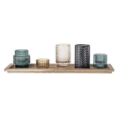Bloomingville Windlicht, braun blau grau schwarz, Glas, 6er Set
