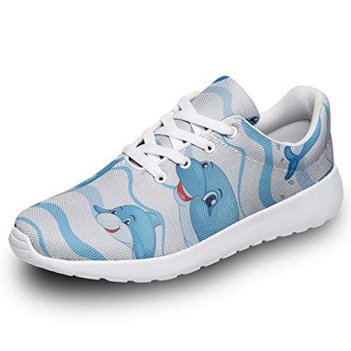 Herren Damen Laufschuhe Turnschuhe Blauer Ozean Delphin Design Sneakers Bequem Straßenlaufschuhe Wanderschuhe Trainers Sportschuhe White 46