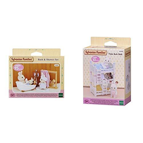 Sylvanian Families - 5022 - Ensemble Baignoire et Douche - Mini-Poupée & Triple Bunk Beds Families Lits Superposés à 3 Couchettes Bébés-Poupées et Accessoires, 4448, Multicolore