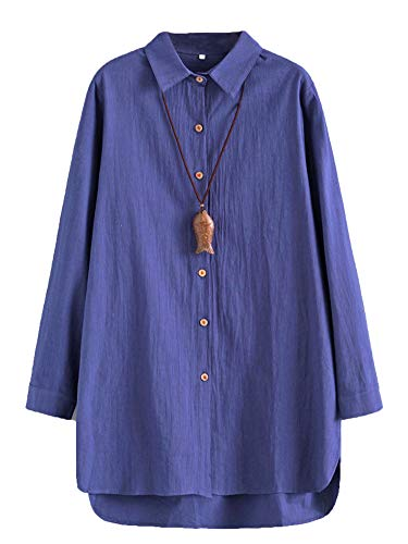 Minibee Women's Linen Shirts Tunics Hi Low Tops Boyfriend Button Down Blouse Navy L
