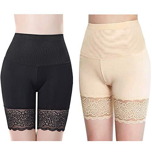 Women Lace Under Skirt Shorts, Anti-Chafing Ice Silk Thigh Saver, Anti-Chafing Slip Shorts Seamless Boxers Slipshorts Knickers (2pcs)