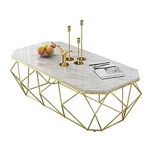 ▲ Questo tavolino da caffè combina elementi moderni ed eleganti per mostrare la bellezza delle linee del telaio. Non solo pratico, ma anche per decorare la tua stanza. ▲ Piani di lavoro in marmo naturale. La superficie della pietra è liscia e levigat...