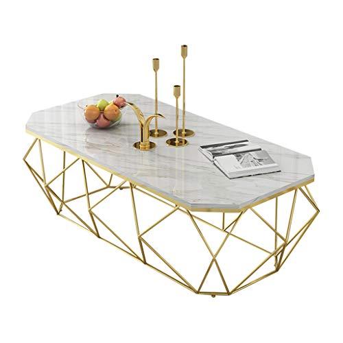 Table de thé rectangulaire Art de Fer Table de Salon Nordique avec Table Basse en marbre Nordique Table d'appoint de Salon Moderne Noir/Cadre en métal doré 80 × 40 × 45 cm