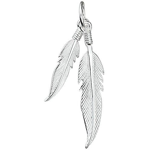 schmuxxi Kleiner Feder Anhänger 925 Silber Kettenanhänger für Damen und Jugendliche Mädchen 35mm Lang