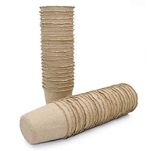 KINGLAKE - Macetas redondas de fibra de 6 cm, biodegradables, 50 unidades