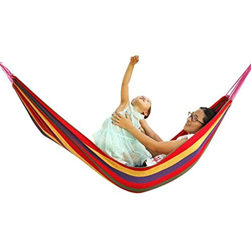 Baskety Portable Outdoor Hammock Hang Bed Travel Camping Swing Canvas with Backpack (RED 280 * 150 cm (2 Person) 200 kg)