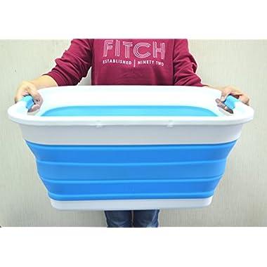 SAMMART Collapsible Plastic Laundry Basket - Foldable Pop Up Storage Container/Organizer - Portable Washing Tub - Space Saving Hamper/Basket (Sky Blue)