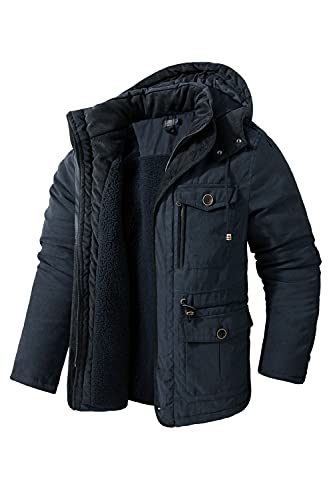 Mr.Stream Men's Winter Hooded Jacket Windproof Sherpa Lined Fleece Windbreaker Coat Outerwear Warm Parka Blue XL