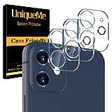 [3 pièces] UniqueMe Caméra Arrière Protecteur Compatible avec iPhone 12 (6,1 pouces) Caméra, Protection écran [9H Dureté][Couverture maximale] Résistant Verre Trempé