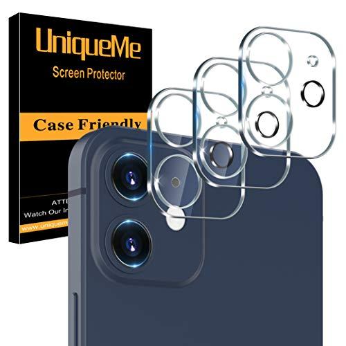 [3 Pack] UniqueMe Protector de Lente de cámara Compatible con iPhone 12 (6.1 pulgadas) Cristal Templado, [9H Dureza ] [Sin Burbujas] HD Vidrio Templado