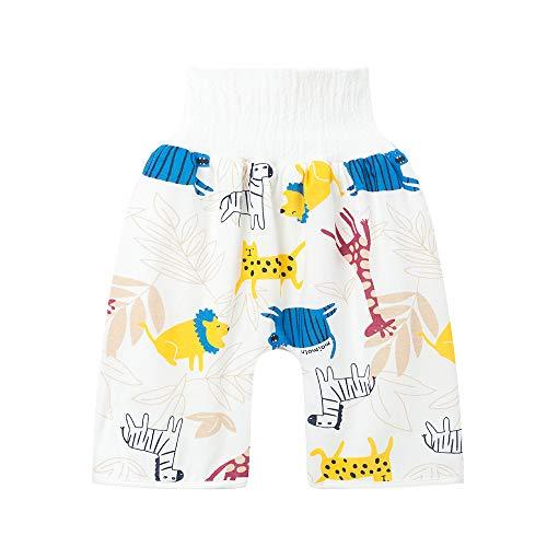 AioTio Pantalones Cortos para Pañales a Prueba de Fgas para Bebés, Pantalones de Entrenamiento para Niños, Pantalones de Pañales para Bebés Lavables de Algodón de Cintura Alta(L,Cebra y Jirafa)
