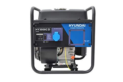 HYUNDAI Benzin Generator HY3000C D, sehr kompakter und leichter Stromaggregat mit 5.44PS Motor und 3.0kW max. Leistung, Stromerzeuger für Baustellen, Stromgenerator, Stromaggregat.