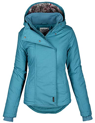 Sublevel Damen Herbst Übergangsjacke Winter warme Jacke Winterjacke Outdoor B167 (Gr.M/Gr.40, Petrol)