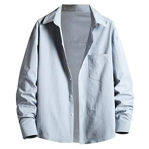 Yowablo Hemden Herren Frühling Sommer Casual Slim Printed Langarm Top Beach Bluse (M,4Blau)