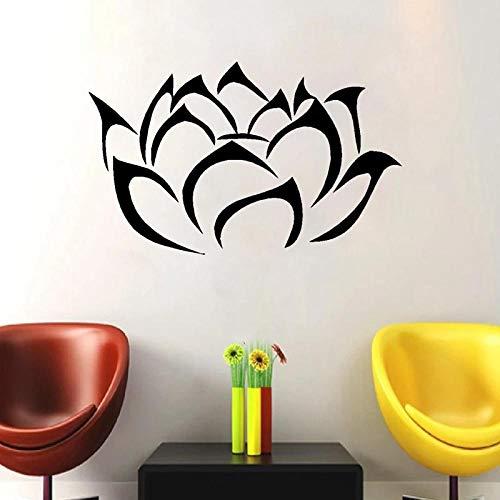 WANGHH Schöne Lotus Flower Vinyl Wandtattoos Lotus Blossom Wandkunst Aufkleber für zu Hause Wohnzimmer Dekoration 58x38cm