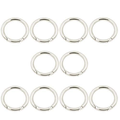 MUCHENG 10 Stück O-Ring, runde Federklappe Karabiner Snap Clip Trigger Feder Schlüsselanhänger Schnalle Federspule, Silber, 38 mm