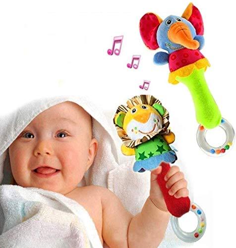 HUADADA Hochet Bébé Jouet Coloré en Peluche Doux avec Son...