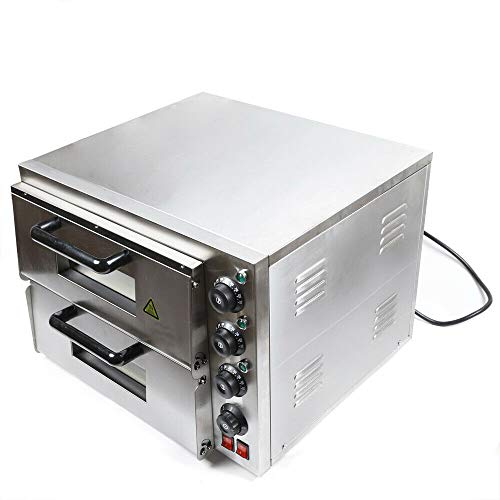3000W Stainless Steel Pizza Oven, Double Deck Electric Pizza Toaster Oven, Bread Making Machine For Restaurant Home Commercial, Adjustable...