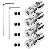 4 Packs 4mm to 4mm Steel Universal Joint Cardan Coupling Connector, Rotatable Model DIY Motor Shaft Fitting Accessory for RC Car Boat 1/6 inch to 1/6 inch with 8 Screws and 2 Wrench