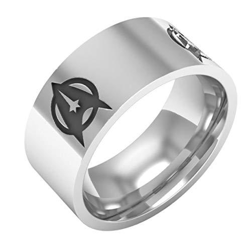 Qiuaii Star Trek Logo Titan Stahl Herren Ring 8mm, Silber Größe 62 (19.7)