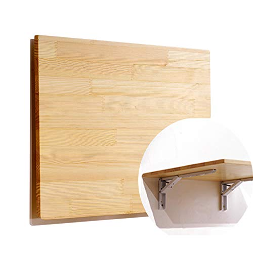 Wood Folding Wall-Mounted Table Desk,Floating Heavy Duty Dining Table/Children Study Desk,with 2 Steel Brackets,Kitchen Fold Down Table For Home Office/Laundry Room