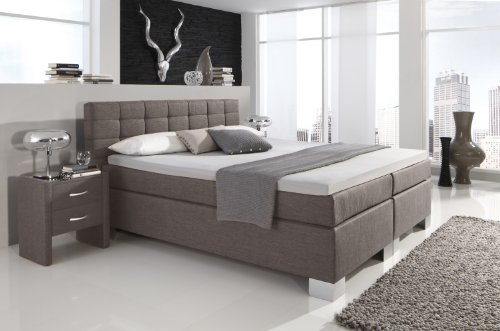 Dreams4Home–Cama Manhattan (KT de 2) tapizada cama marrón 160x 200cm, tipo D: 7zonas de contenedores bolsillos de FK de bajo acolchado, 7zonas de contenedores bolsillos de FK de colchón