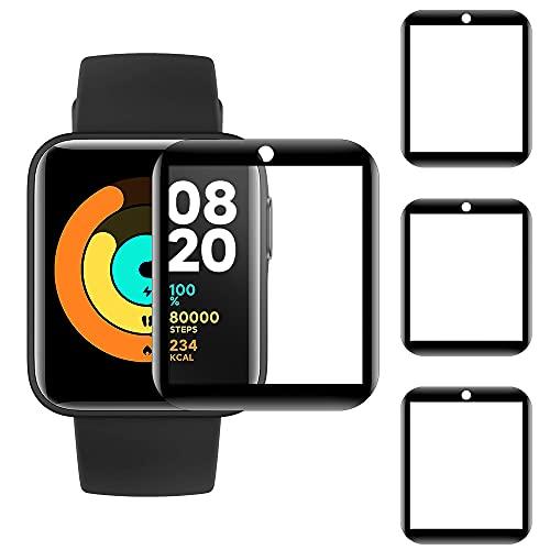 CAVN 3D Cover Kompatibel mit Xiaomi Mi Watch Lite Folie Schutzfolie [3-Stück], Flexibles TPU Vollschutz Displayschutzfolie Kratzfest Schutz Gehäuse Folie für Xiaomi Mi Watch Lite Panzerglas