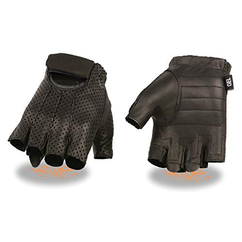 Men's Leather Perforated Fingerless Glove w/ Gel Palm (Large)