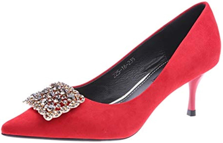 FLYRCX Europäische Stil Spitze Wildleder Stiletto Stiletto Stiletto Heels Strass flachen Mund Einzelne Schuhe Damen Hochzeit Schuhe Arbeitsschuhe  277c9d
